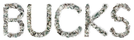 Bucks - Crimped 100$ Bills. The word 'bucks', made out of crimped 100$ bills Stock Image