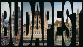 Word Budapest from sights Royalty Free Stock Photo