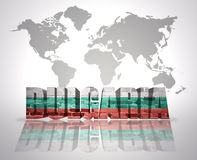 Word  Bulgaria. Word Bulgaria with bulgarian Flag on a world map background Stock Photography