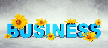 Word business with flowers Royalty Free Stock Photos