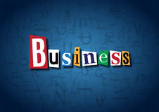 The word Business made from cutout letters. On a blue background Stock Images