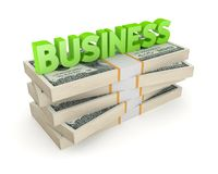 Word BUSINESS and stack of dollars Stock Photo