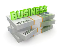 Word BUSINESS on a stack of euro. Royalty Free Stock Image