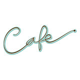 Word Cafe Hand Written Script Stock Image
