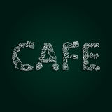 Word Cafe - lettering in sketch hand drawn style. Vector. Royalty Free Stock Photo
