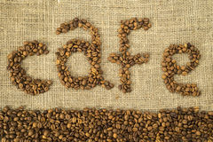 Word cafe made with coffee beans Royalty Free Stock Images