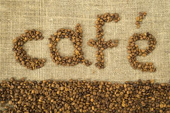 Word cafe made with coffee beans Royalty Free Stock Image