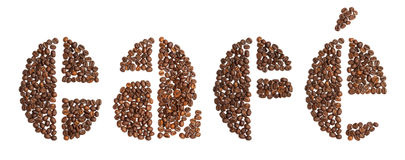 Word cafe, Spanish for coffee, written in coffee beans typeface. On white Royalty Free Stock Images