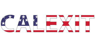 Word Calexit flag USA US to California state, the formation of the new state, the concept of dissatisfaction with the election Stock Photography