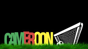 Word Cameroon and soccer ball in the gate on the grass Stock Photo
