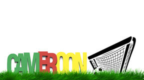 Word Cameroon and soccer ball in the gate on the grass Royalty Free Stock Photography