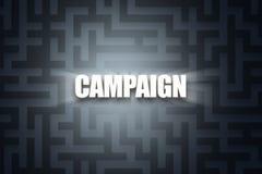 Word of Campaign on Dark Maze. Illustrative word of campaign with white letters on dark maze background Royalty Free Stock Photo