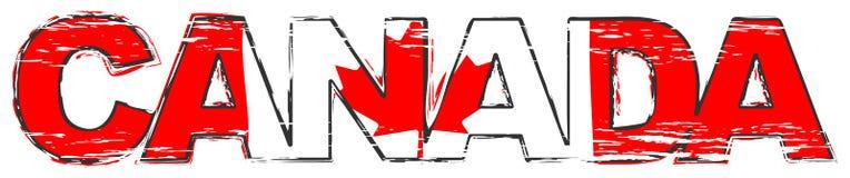Word CANADA avec le drapeau national canadien sous lui, regard grunge affligé illustration de vecteur