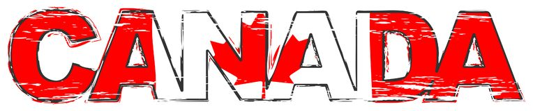 Word CANADA with Canadian national flag under it, distressed grunge look vector illustration
