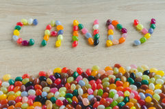 Word candy with border from jelly beans Stock Photo