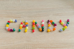 Word candy from jelly beans Royalty Free Stock Image