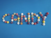 Word candy write with candies Royalty Free Stock Photo