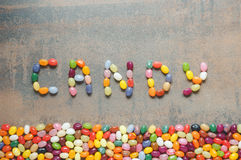 Word candy written with jelly beans Royalty Free Stock Image