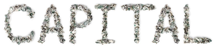 Capital. The word 'capital', made out of crimped 100$ bills Stock Photography