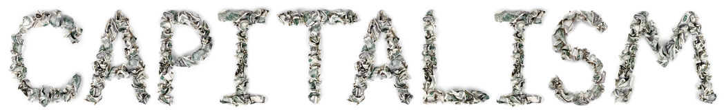 Capitalism - Crimped 100$ Bills. The word 'capitalism', made out of crimped 100$ bills Stock Photos