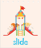 Word card with girls on the slide Royalty Free Stock Photo
