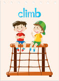 Word card with two boys climbing. Illustration Royalty Free Stock Photo