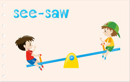 Word card with two boys on see-saw Stock Photos