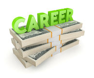 Word CAREER on a stack of dollars. Royalty Free Stock Photography