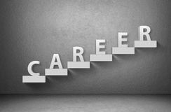 Word career on staircase on grey background Stock Image