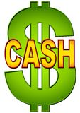 Word Cash With Dollar Sign. A cash and money illustration with a green gradient dollar sign and the word 'cash' in gold and red Royalty Free Stock Photo