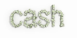 The word 'cash', made out of 100$ bills.  on white backg Royalty Free Stock Image