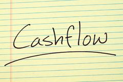 Cashflow On A Yellow Legal Pad. The word `Cashflow` underlined on a yellow legal pad Royalty Free Stock Photos
