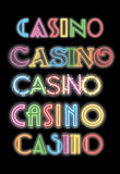 Word Casino Neon Glowing Sign Set Stock Images