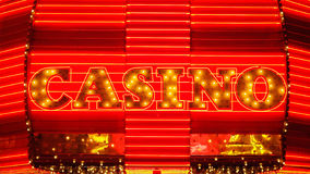 Word Casino in Neon Lights - Las Vegas Stock Photography
