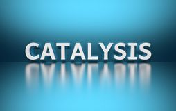 Word Catalysis. Written in large bold white letters and placed on blue background over reflective surface. 3d illustration royalty free illustration
