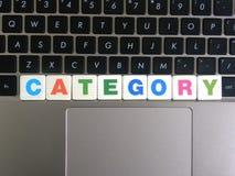Word Categorie op toetsenbordachtergrond royalty-vrije stock afbeelding