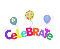 Word celebrate with balloons illustration Stock Photography