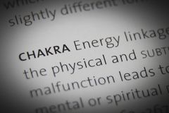 The word Chakra close up on paper.  royalty free stock images