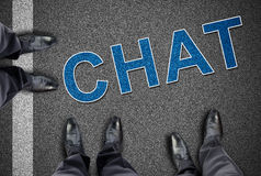 Word chat printed on the road Royalty Free Stock Image