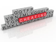 Word cheating using alphabet cubes. Royalty Free Stock Photo