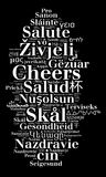 Word Cheers in different languages Stock Image