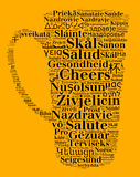 Word Cheers in different languages Royalty Free Stock Images