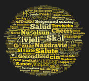 Word Cheers in different languages Royalty Free Stock Photography