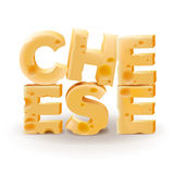 Word Cheese written on white background Stock Image