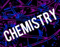 Chemistry abstract background with big word. Word chemistry with white letters on chemical molecule absctract background. Processed with neon Stock Images