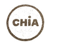 Word CHIA and circle filled with  chia seeds. Isolated on white background Stock Images
