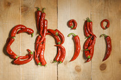 The word chili laid Royalty Free Stock Photography