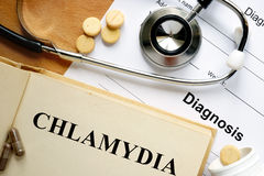 Word  Chlamydia on a paper and pills. Stock Photo