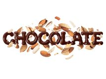The word chocolate with almonds on a white background stock images