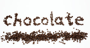 Word chocolate formed by a pile of chocolate chips Royalty Free Stock Image